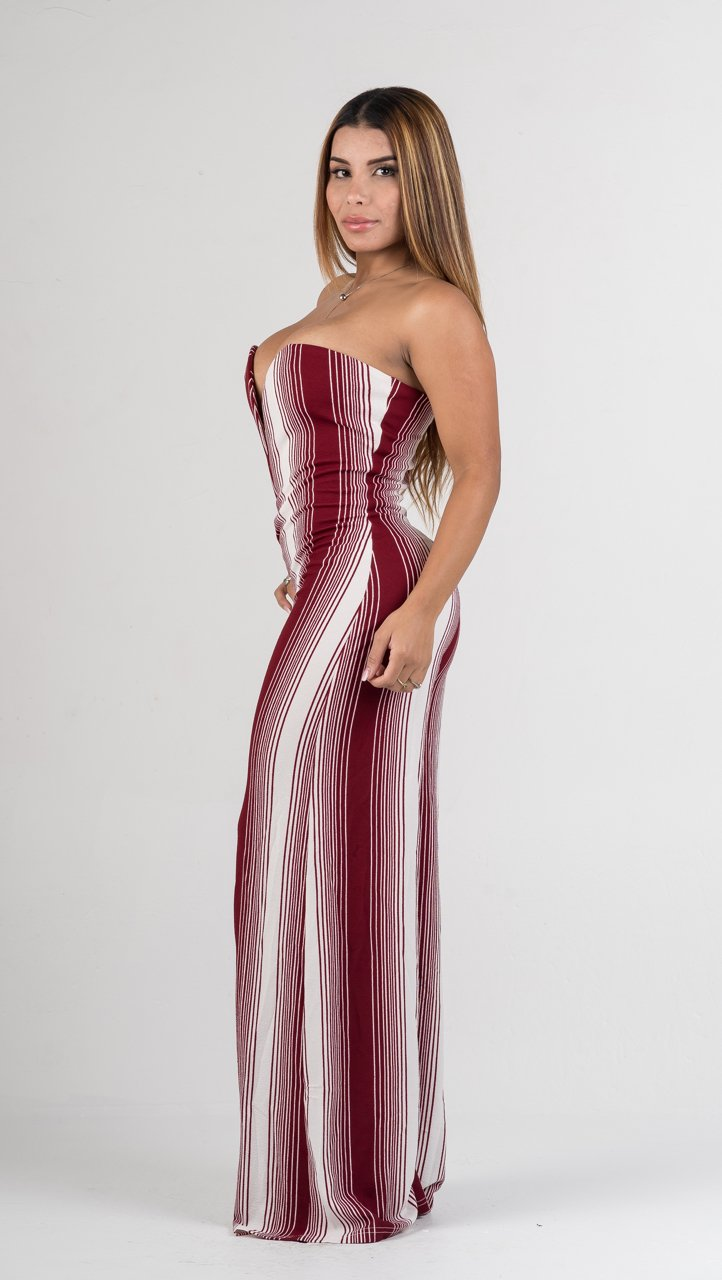 Off White and Burgundy Stripes Deep V Strapless Jumpsuit - GLISTENSTYLES