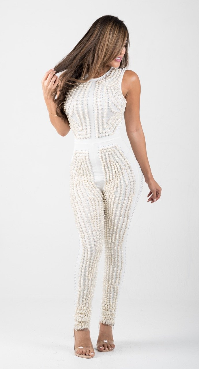 Off-White Pearls Embellished Jumpsuit - GLISTENSTYLES
