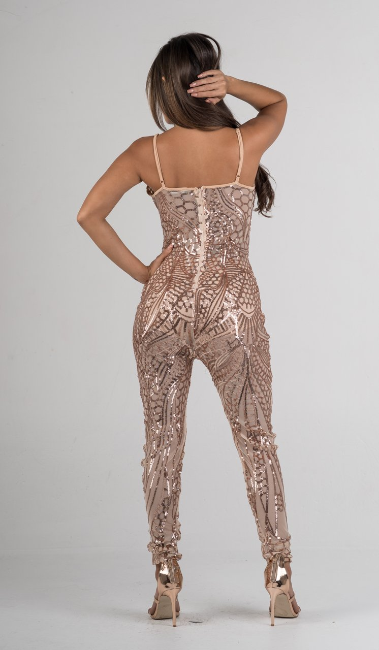 Rose Gold Sequins Semi-Sheer Mesh Jumpsuit - GLISTENSTYLES