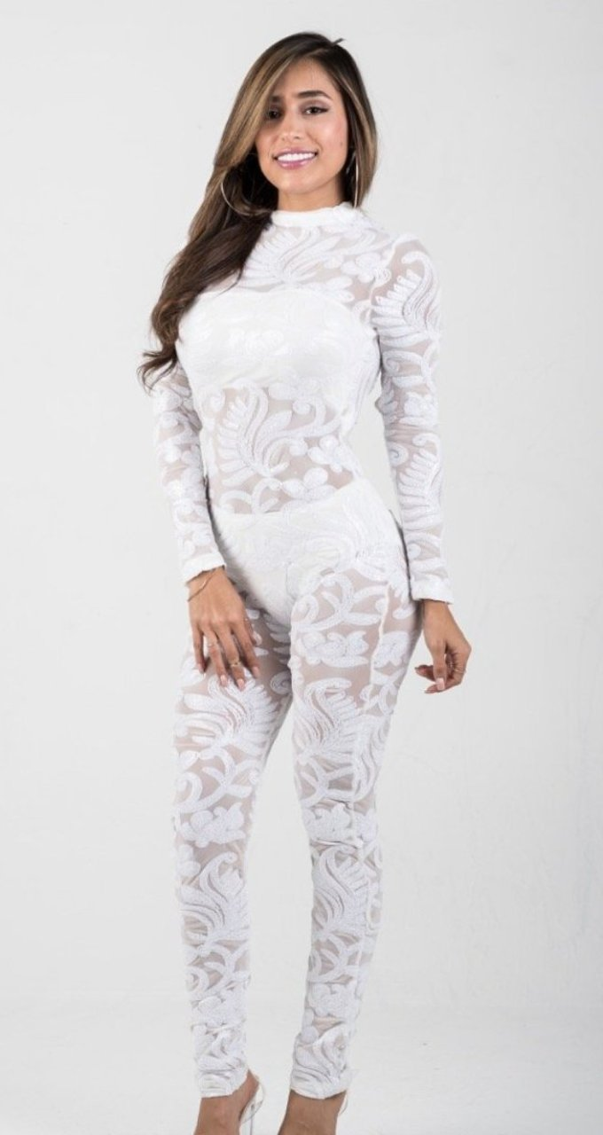 White Sequins Semi-Sheer Mesh Jumpsuit - GLISTENSTYLES