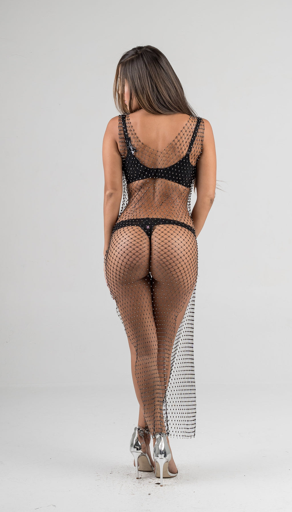 Black Fishnet Silver Rhinestone Cover Up Dress - GLISTENSTYLES