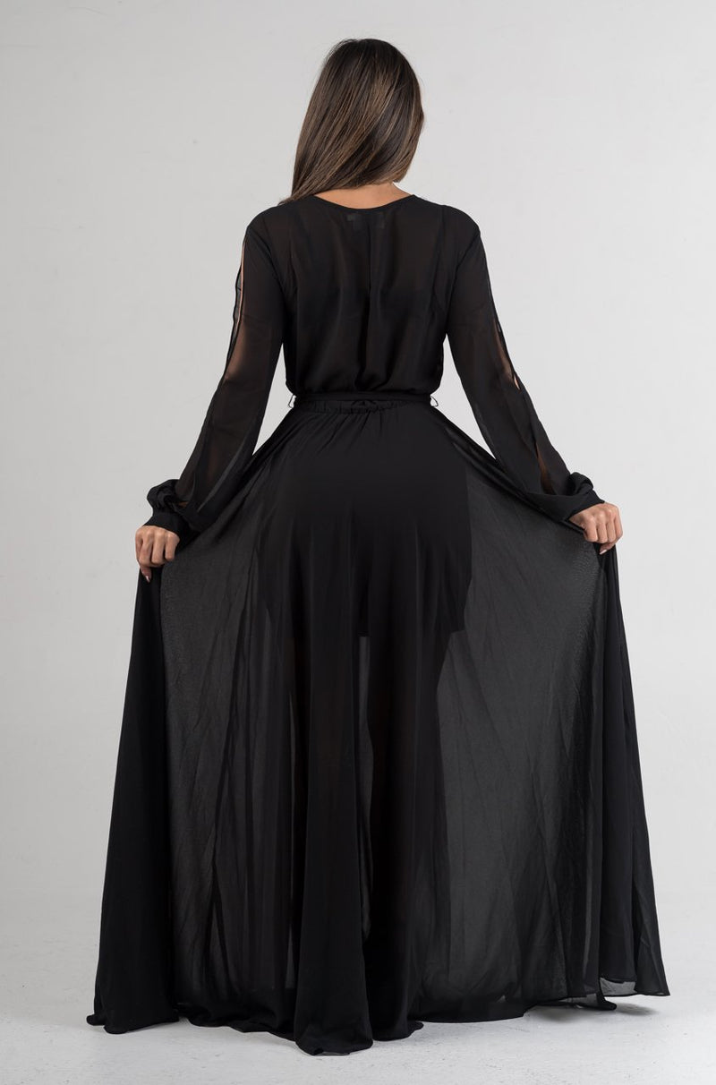 Black Semi Sheer Belted Maxi Dress - GLISTENSTYLES