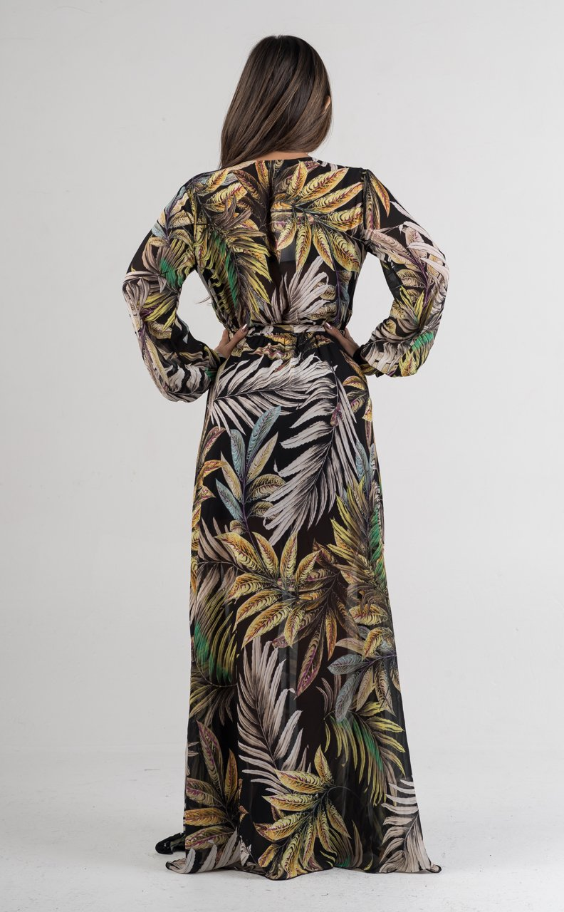 Green Palm Print Plunging Belted Maxi Dress - GLISTENSTYLES