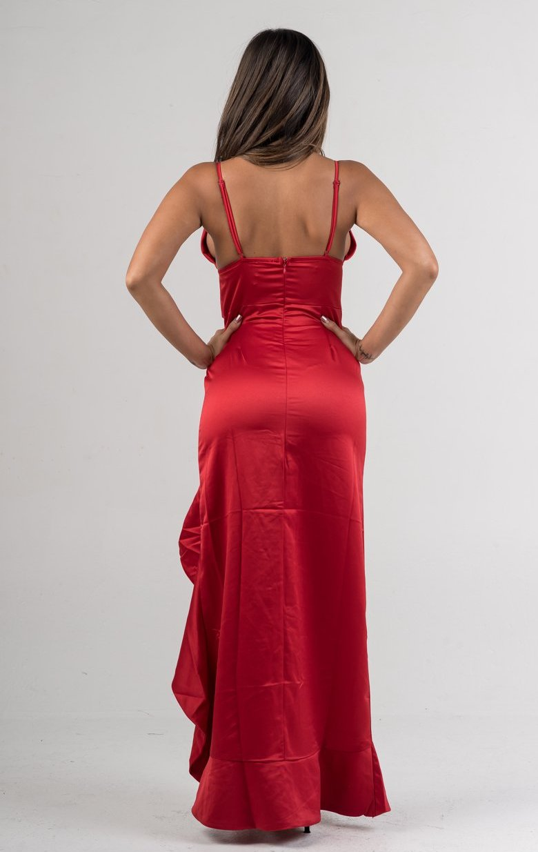 Red Satin Deep V Asymmetrical Ruffles Maxi Dress - GLISTENSTYLES