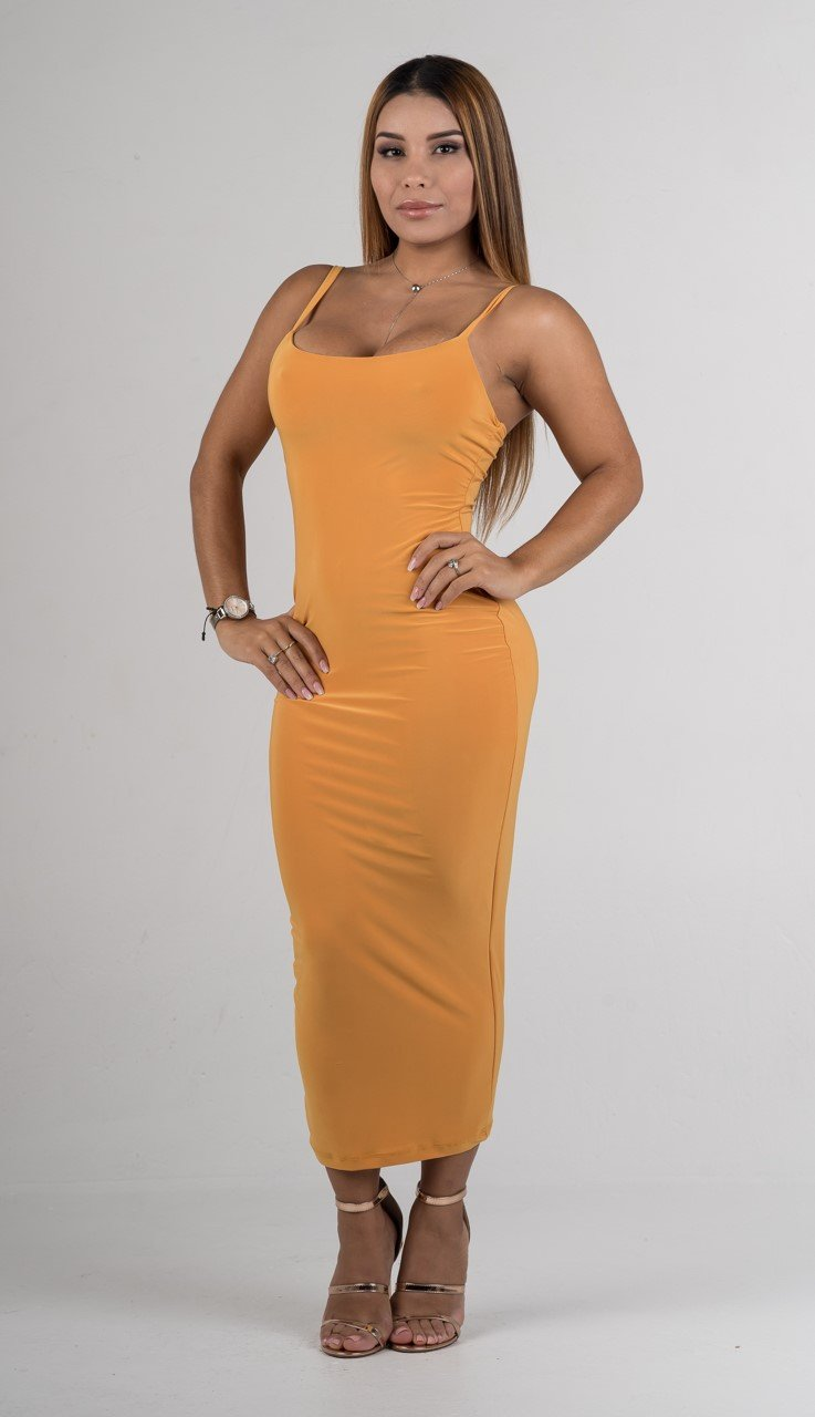 Apricot Essential Body-Con Midi Dress - GLISTENSTYLES