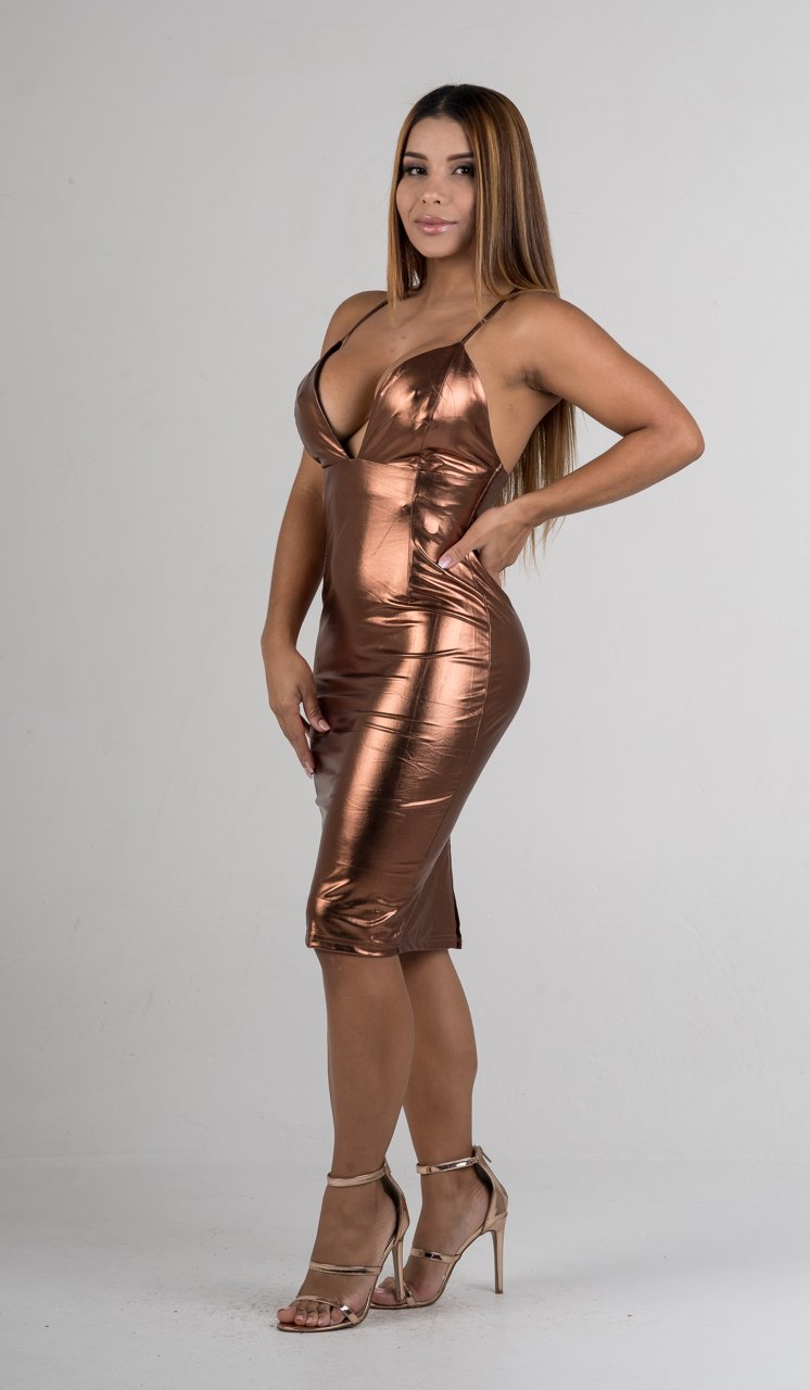 Copper Metallic Deep V Criss Cross Back Midi Dress - GLISTENSTYLES