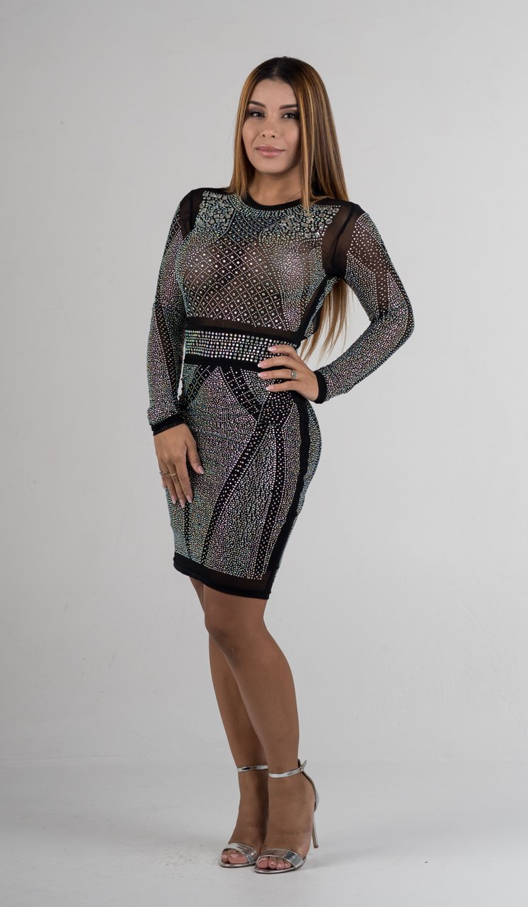 Black Long Sleeve Open Back Iridescent Rhinestone Dress - GLISTENSTYLES