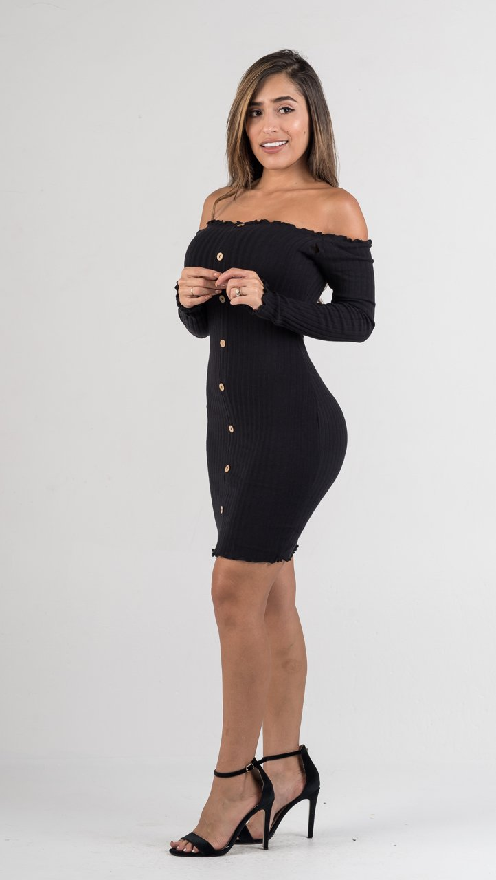 Black Off The Shoulders Ribbed Knit Mini Dress - GLISTENSTYLES