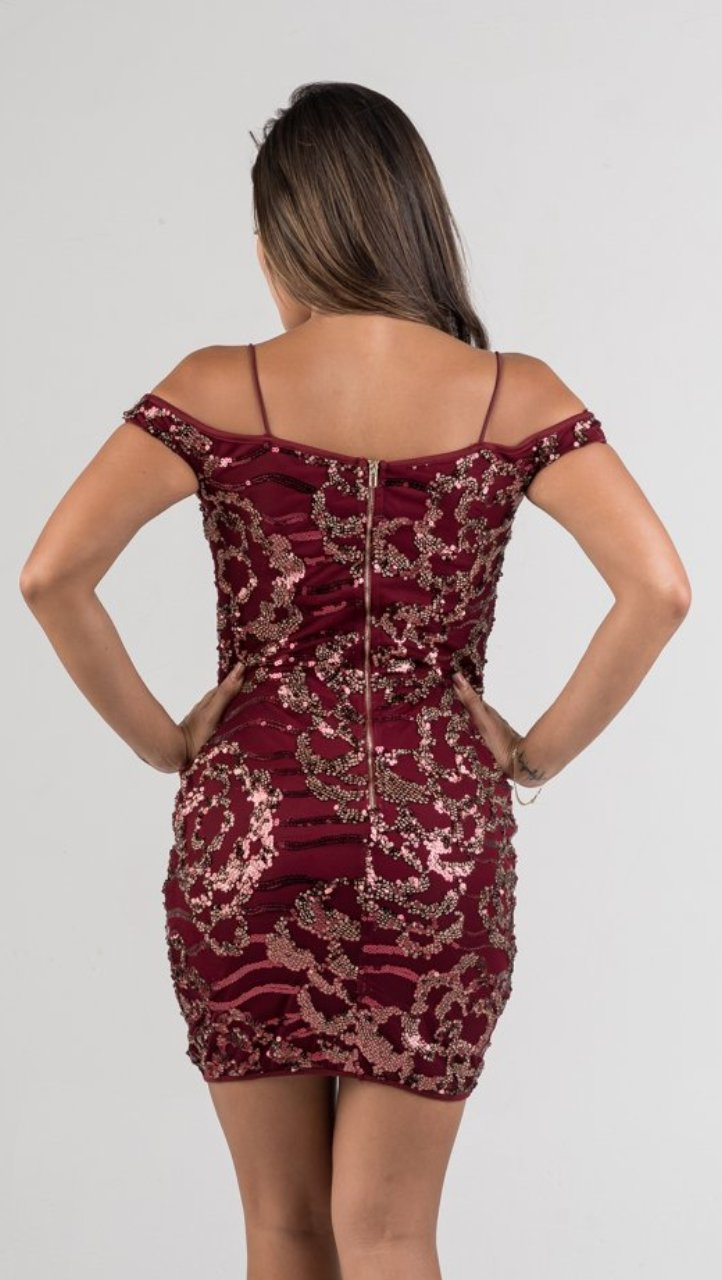 Burgundy Gold Sequin Mini Dress - GLISTENSTYLES