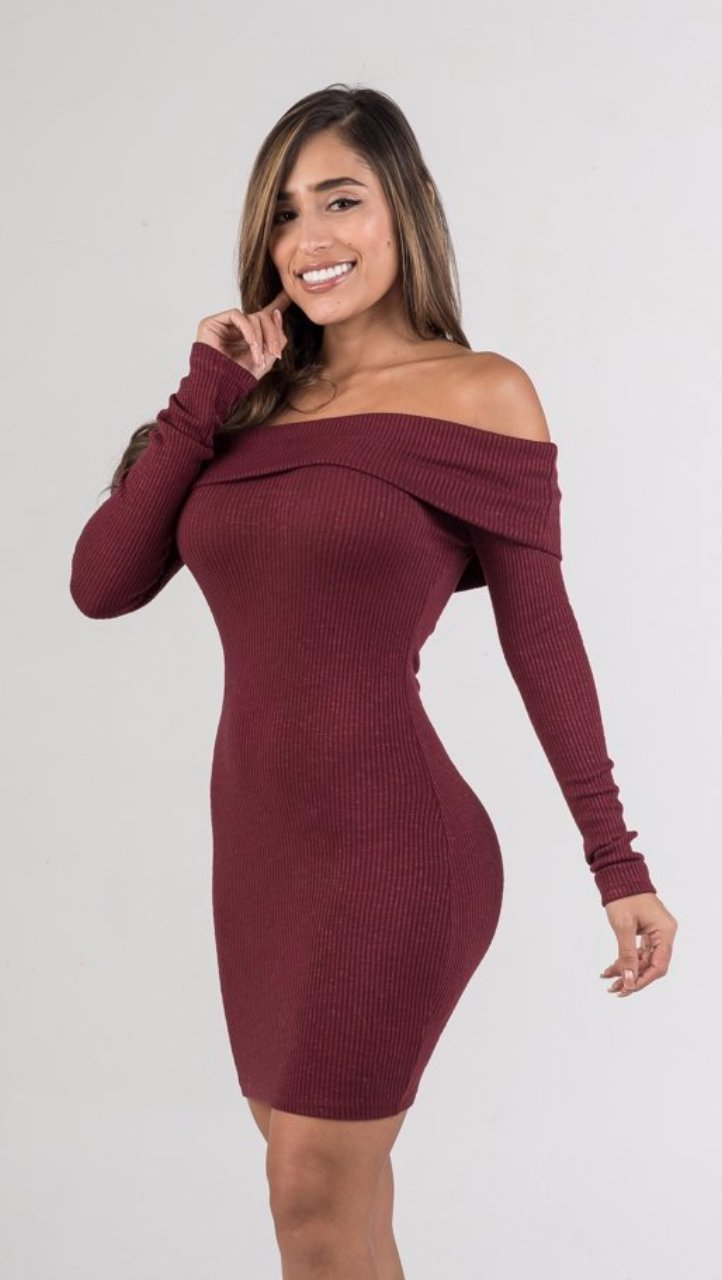 Burgundy Off The Shoulders Ribbed Sweater Mini Dress - GLISTENSTYLES