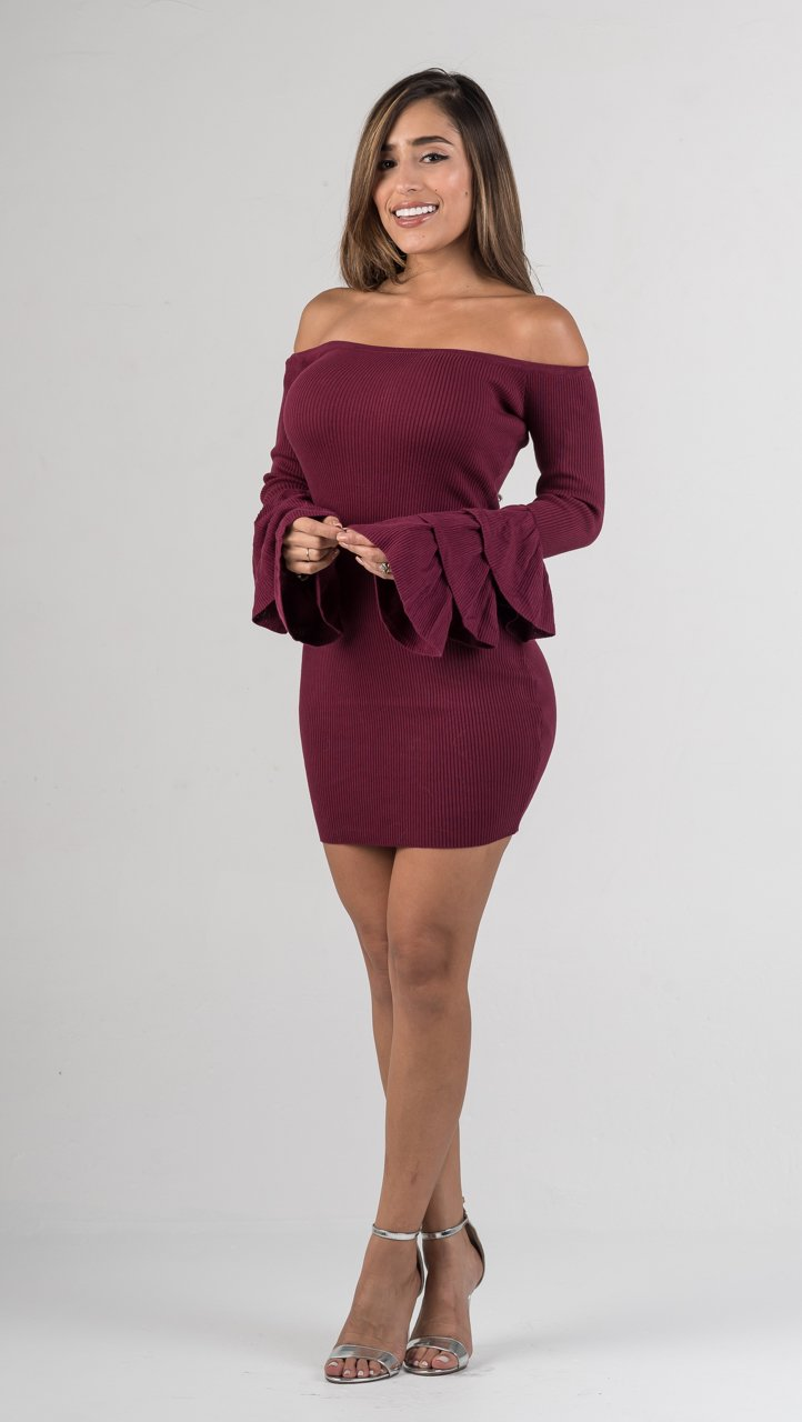 Burgundy Off The Shoulders Ruffle Sleeves Mini Dress - GLISTENSTYLES