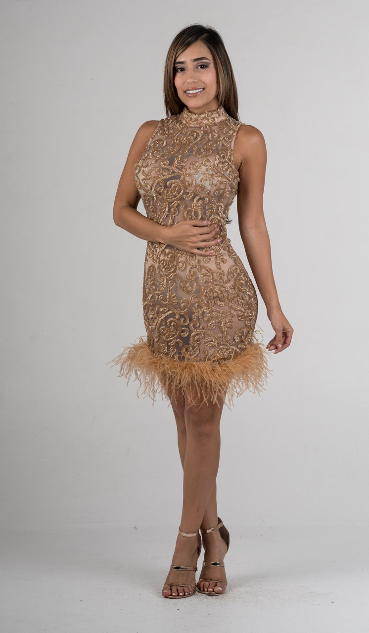 Gold Sequin Feathered Hem Mini Dress - GLISTENSTYLES