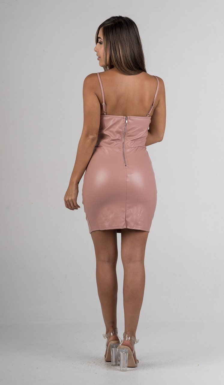 Pink Faux Leather Mini Dress - GLISTENSTYLES
