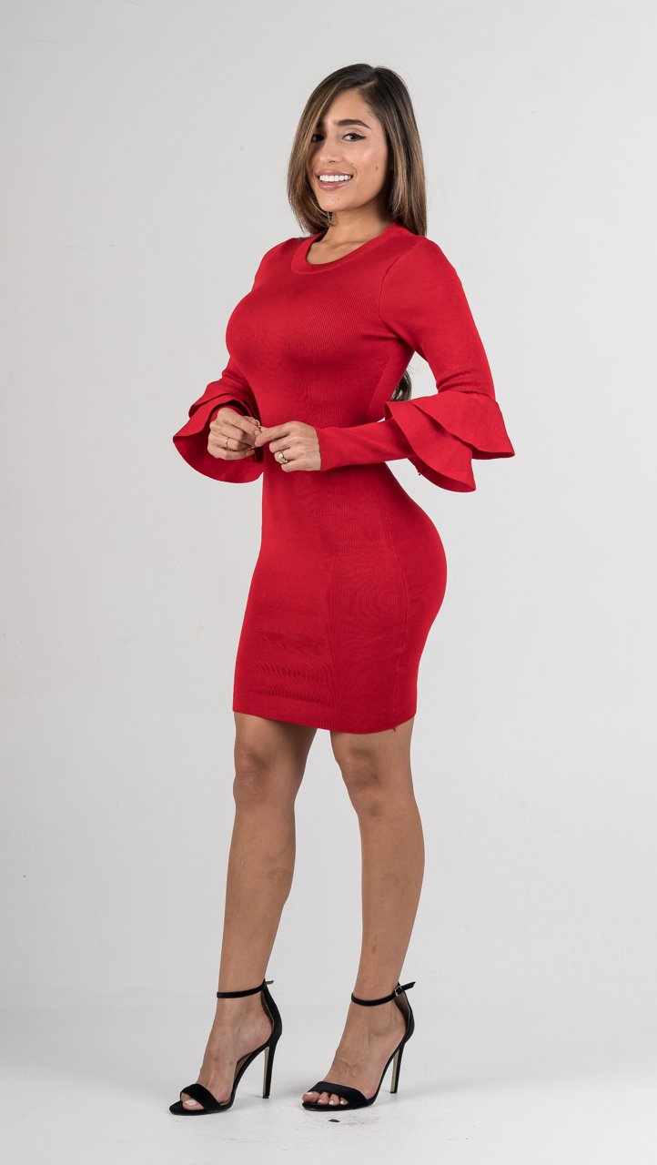 Red Ribbed Ruffle Sleeves Mini Dress - GLISTENSTYLES