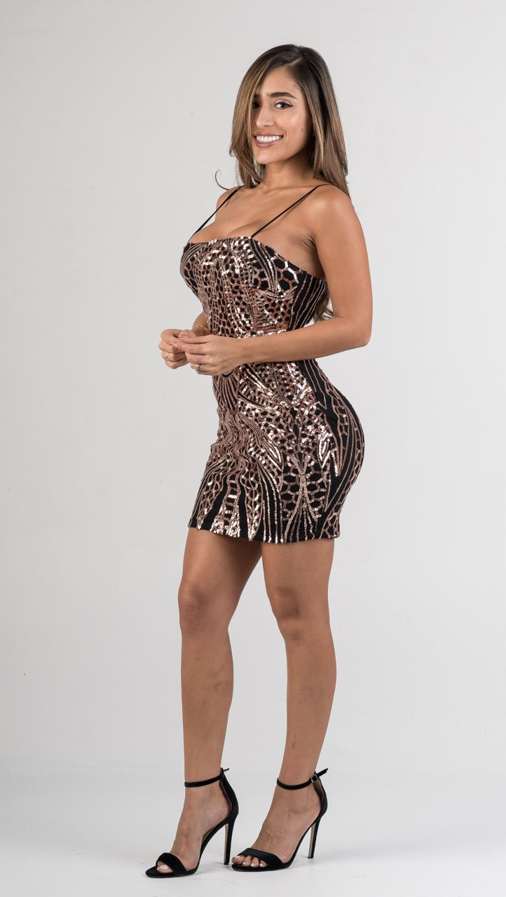 Rose Gold Black Laced Up Back Sequin Mini Dress - GLISTENSTYLES
