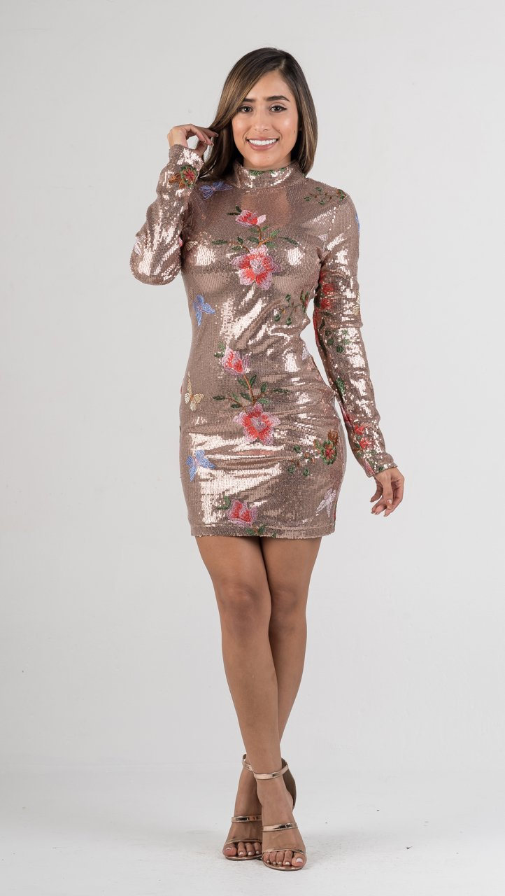 Rose Gold Sequins Embroidered Floral Mock Neck Long Sleeves Dress - GLISTENSTYLES