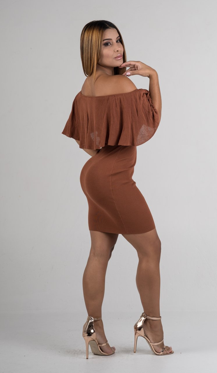 Rust Off The Shoulders Ruffle Mini Dress - GLISTENSTYLES