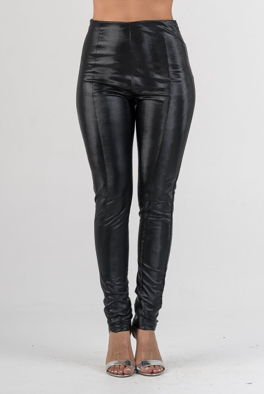 Charcoal High Waist Faux Leather Pant - GLISTENSTYLES