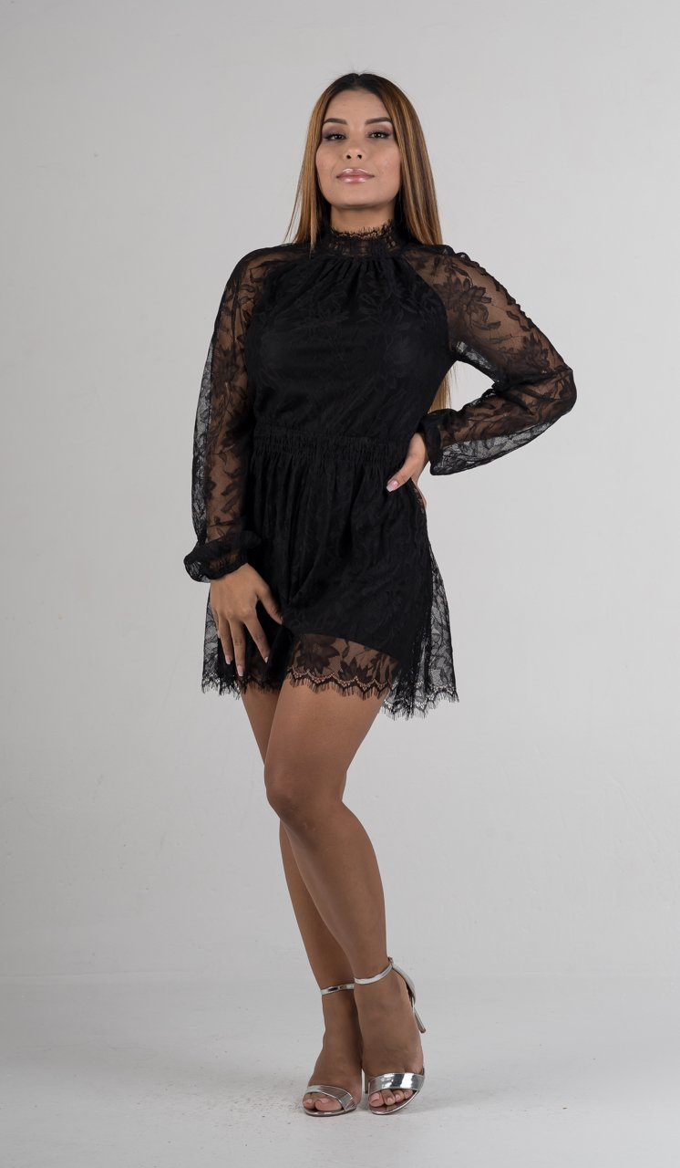 Black Lace Mock Neck Romper - GLISTENSTYLES