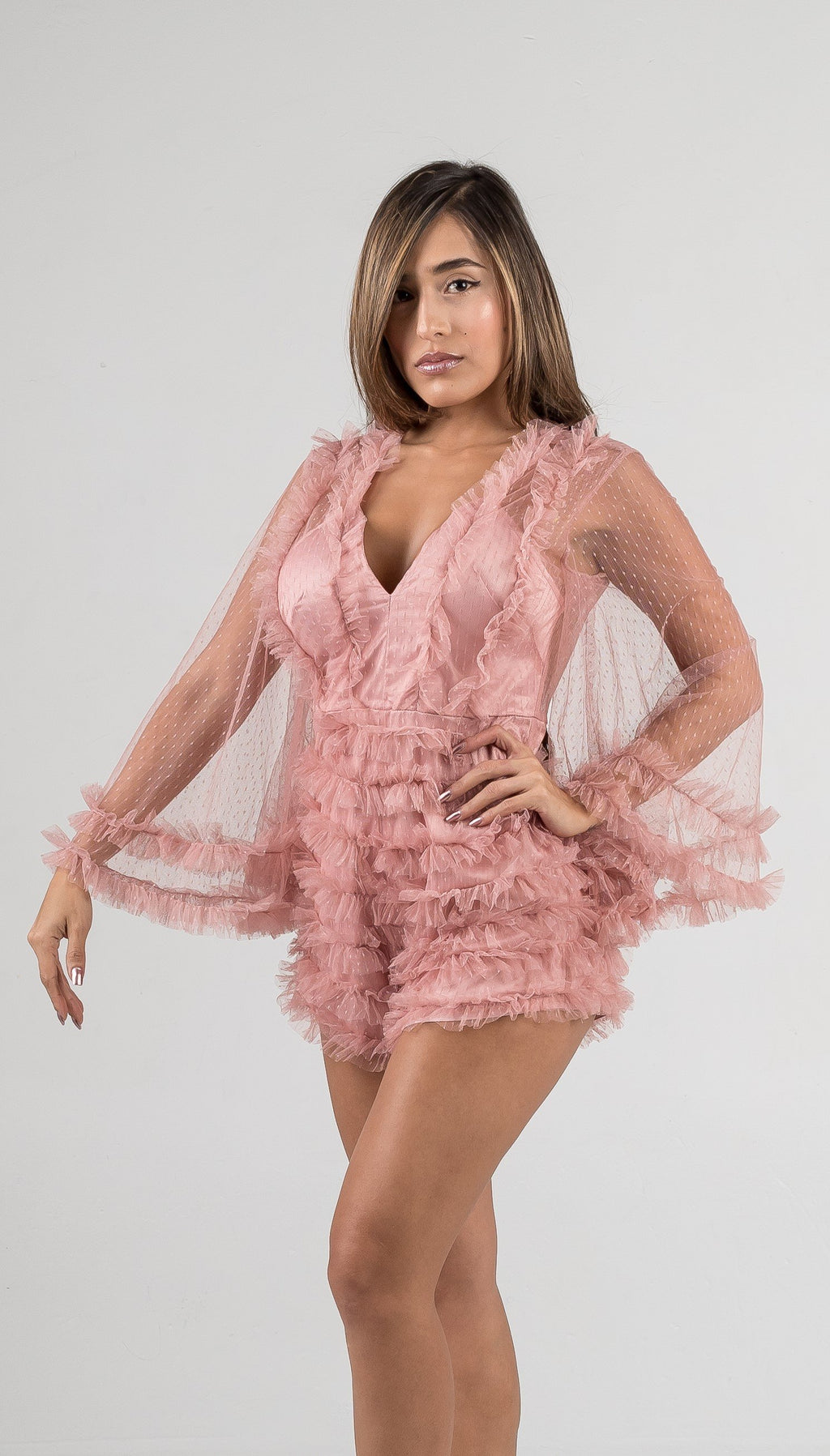 Rose Lace Bell Sleeves Romper - GLISTENSTYLES