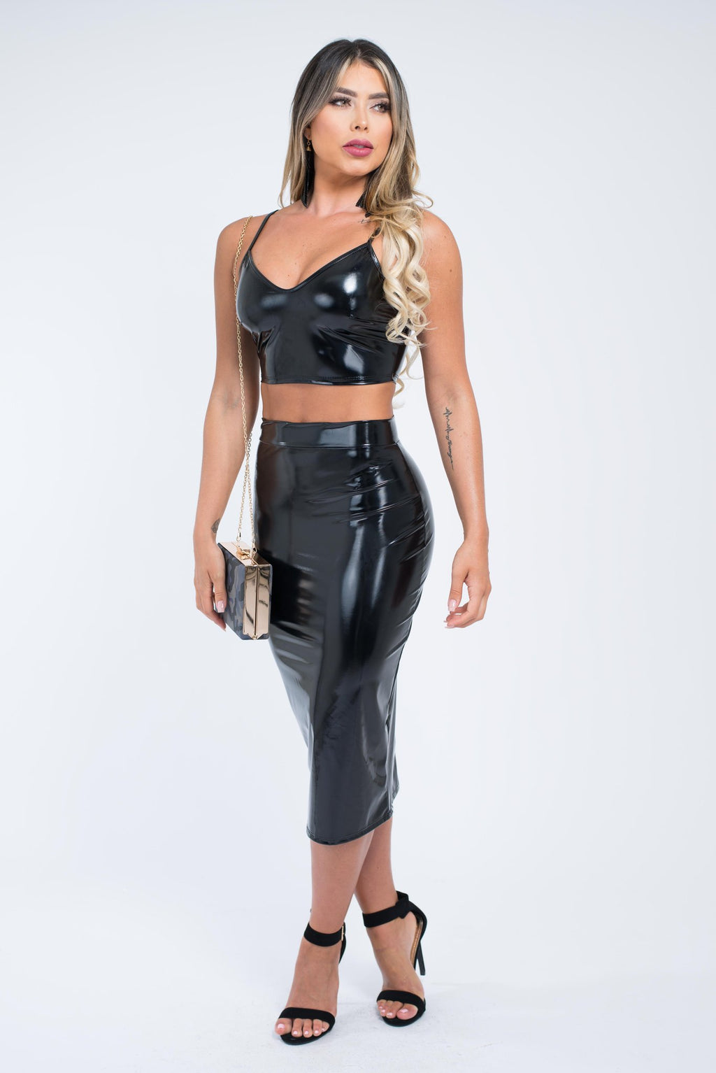 Black Latex Pencil Skirt Set - GLISTENSTYLES