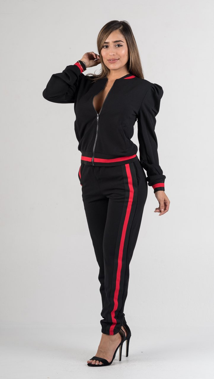 Black Puff Shoulders Jogger Set - GLISTENSTYLES