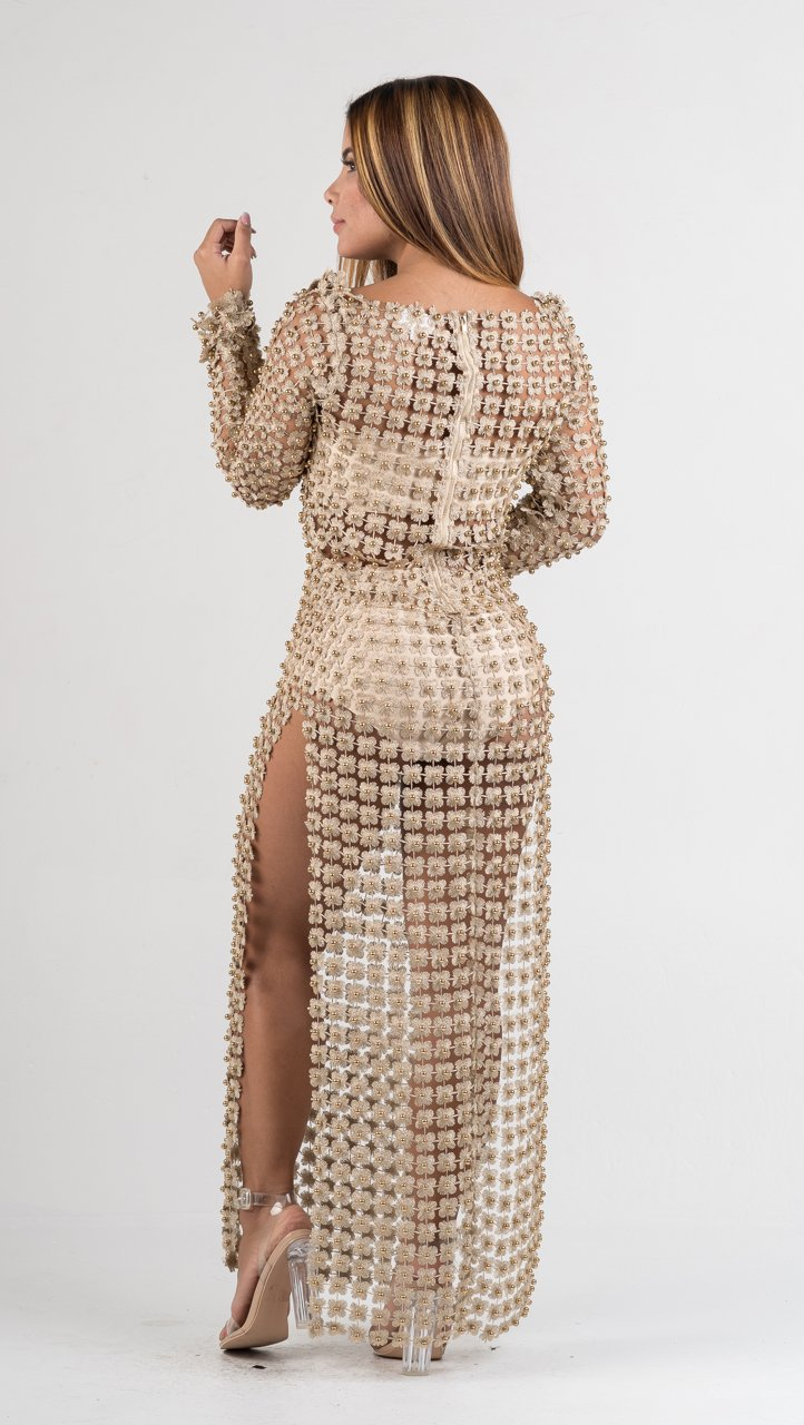 Gold Embellished Crochet Three Piece Set - GLISTENSTYLES