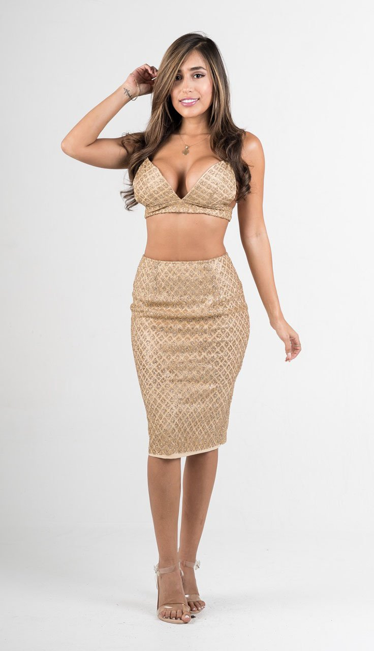 Gold Glitter Two Piece Skirt Set - GLISTENSTYLES