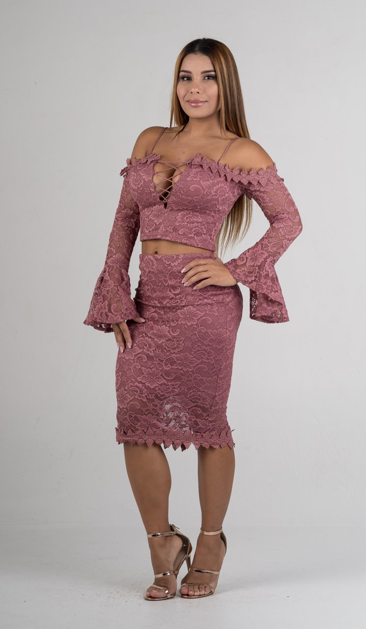 Mauve Embroidered Lace Bell Sleeves Two Piece Set - GLISTENSTYLES