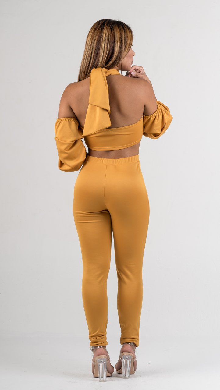 Mustard Ruffle Sleeves Two Piece Set - GLISTENSTYLES