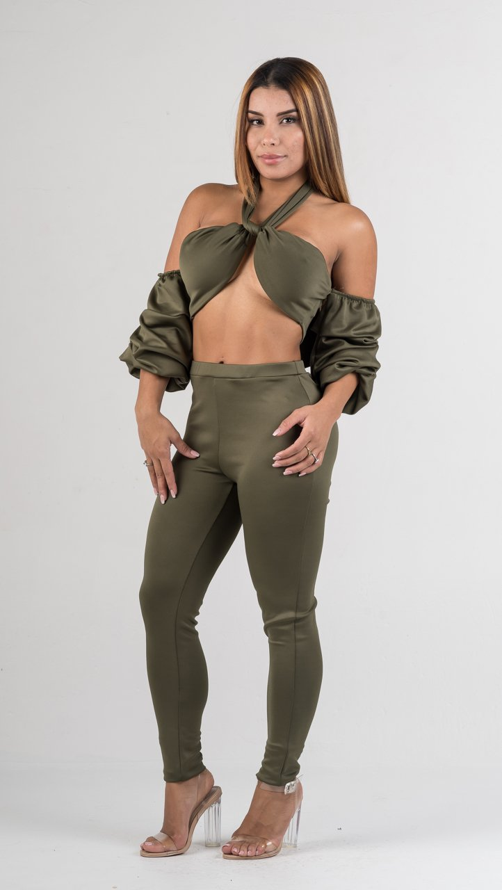 Olive Ruffle Sleeves Two Piece Set - GLISTENSTYLES