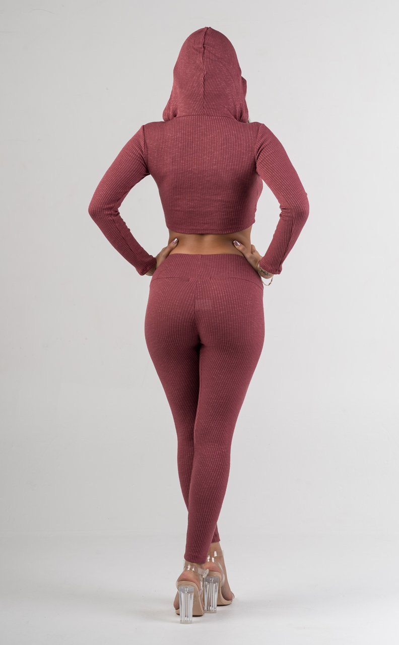 Pink Ribbed Crop Top Hoodie Pant Set - GLISTENSTYLES