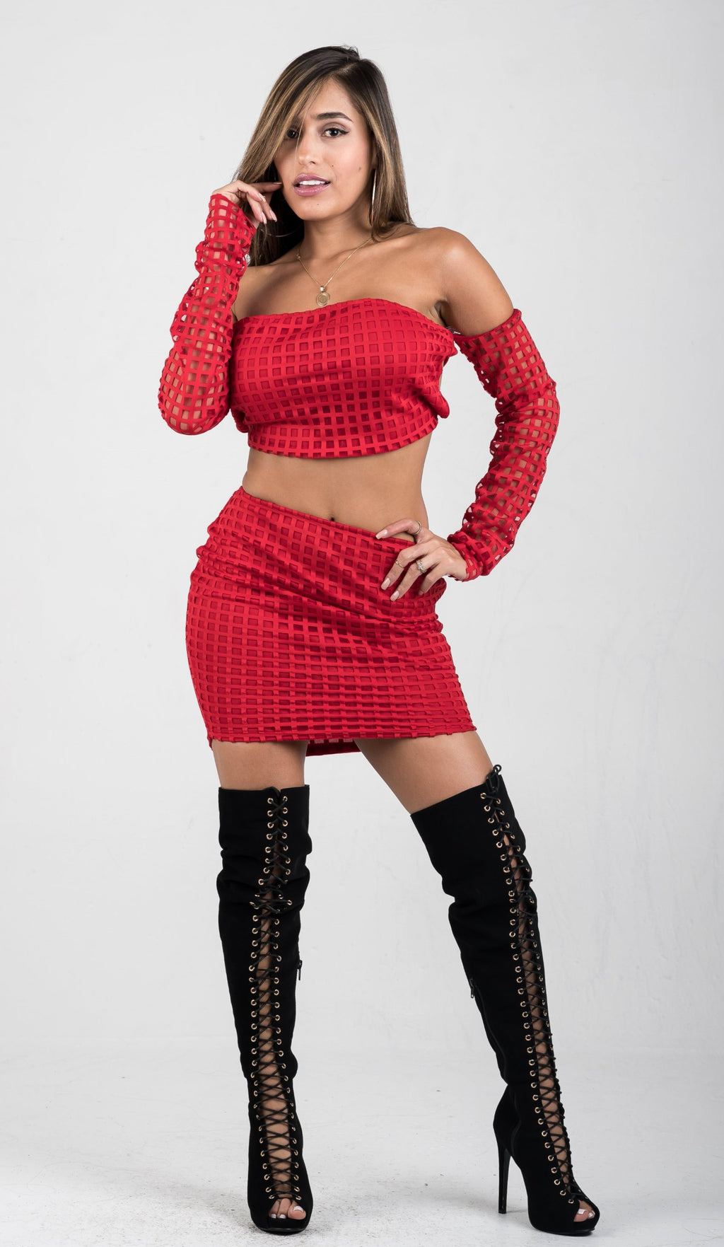 Red Off The Shoulder Two-Piece Skirt Set - GLISTENSTYLES