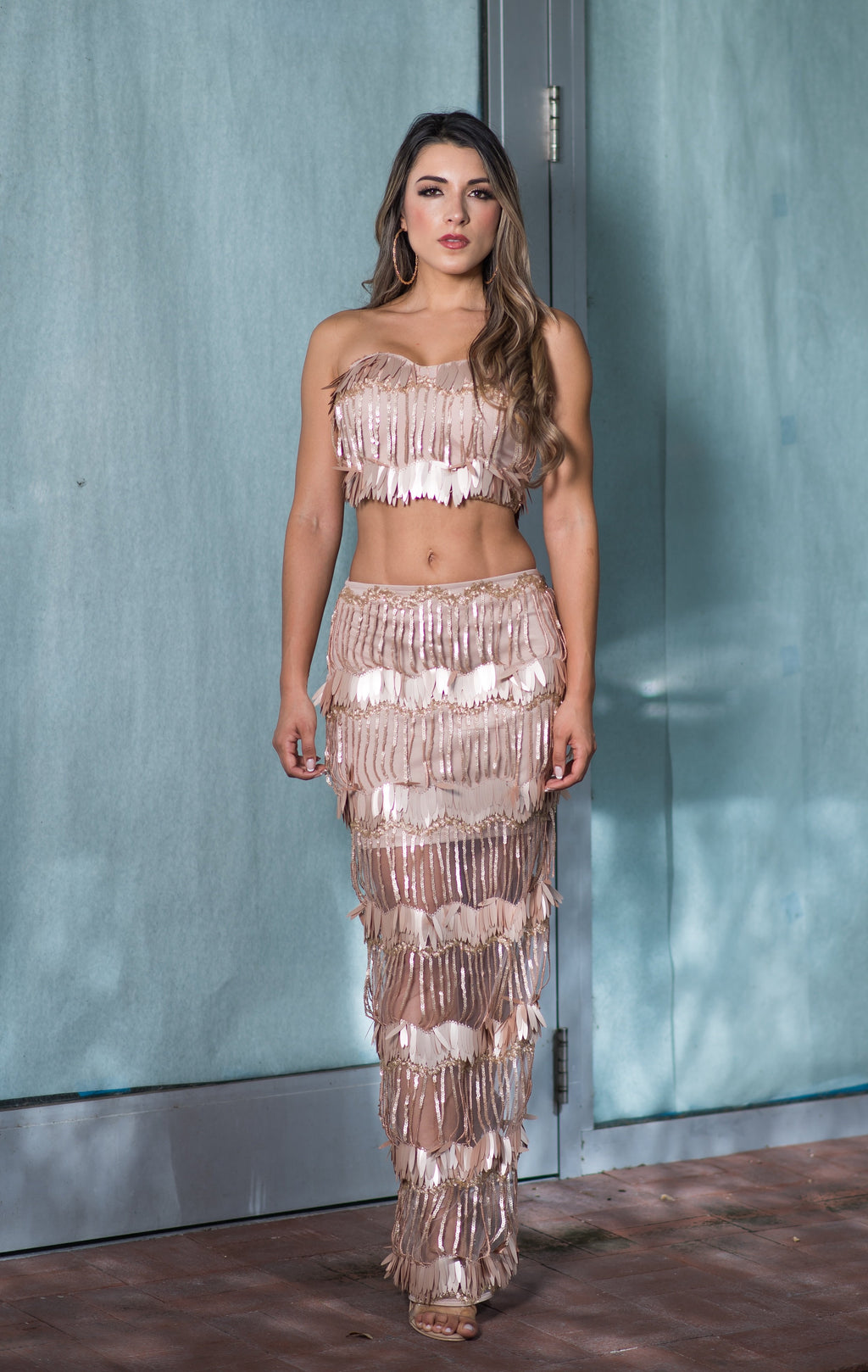 Rose Gold Mesh Sequins Two Piece Long Skirt Set - GLISTENSTYLES