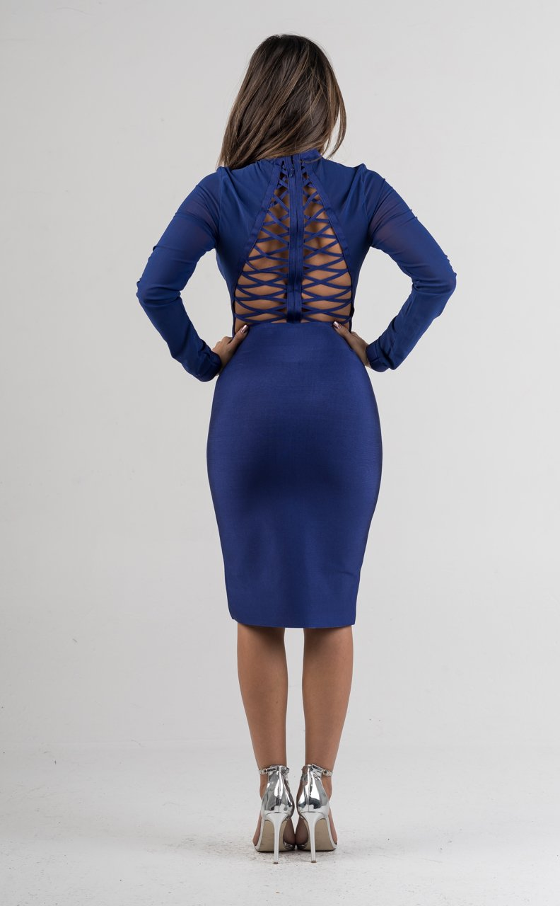Royal Blue Bandage Pencil Skirt - GLISTENSTYLES