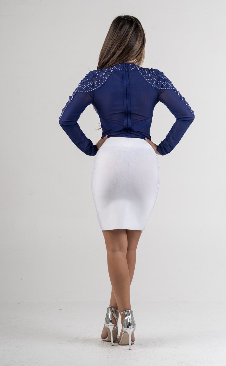 White Bandage Mini Skirt - GLISTENSTYLES