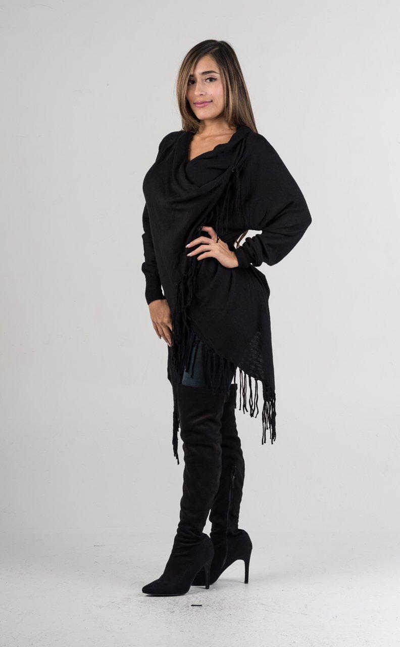 Black Shawl Wrap Sweater - GLISTENSTYLES