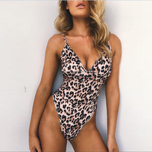 2017 New One Piece Leopard Print Swimsuit - High Leg