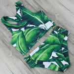 High Waist Bikini, High Neck Bikini Set  Push Up Sexy Brazilian Bikini Green Leaf