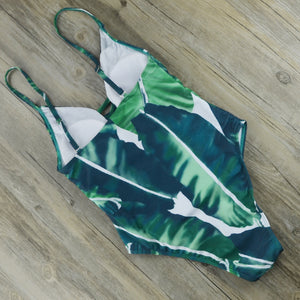 One Piece Push Up Swimsuit Backless Straps Green Leaf Print