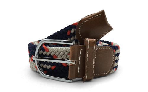 Dapper Vigilante, Dapper Vigilante The Otto Cream, Navy & Red Canvas Belt