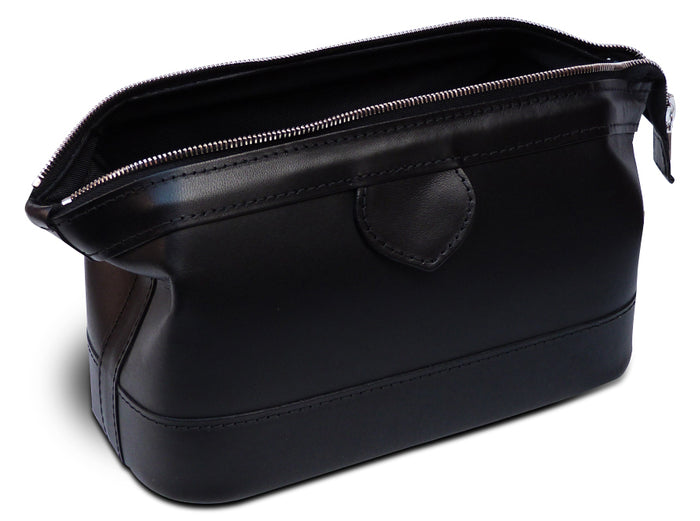 Gladstone Style Black Leather Washbag