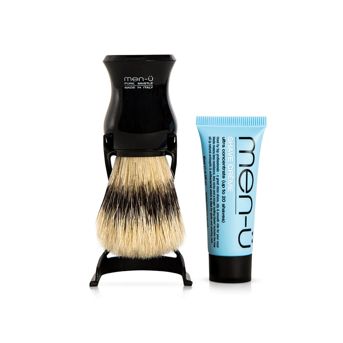 Men u, Men-U Barbiere Pure Bristle Shaving Brush with Stand Black