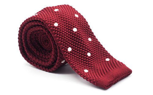 The Sanders Burgundy Polka Dot Knit Tie
