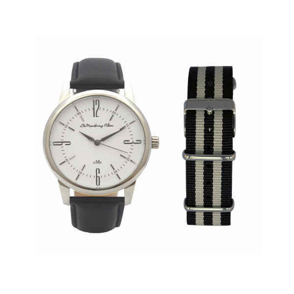 Classic Silver Watch with Black Leather & Travel Case