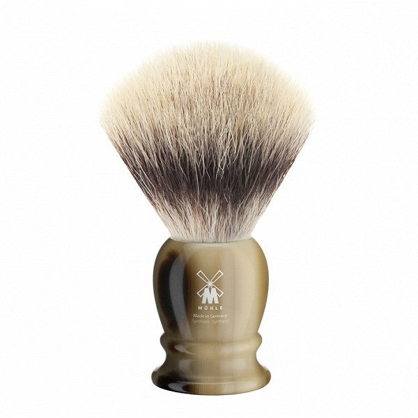 MÜHLE Mens Shaving, 35K252 Shaving Brush Synthetic - Horn Brown Premium