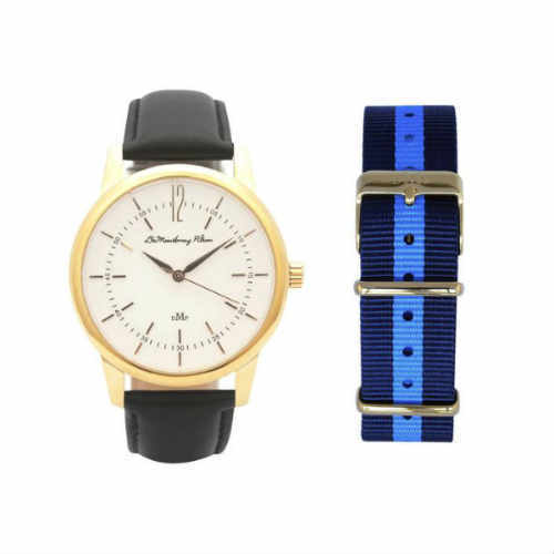 DeMontbray Pilton, Classic Gold Watch with Black Leather & Travel Case