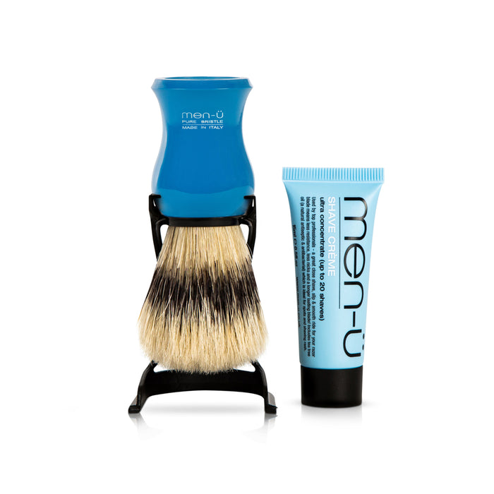 Men u, Men-U Barbiere Pure Bristle Shaving Brush with Stand Blue