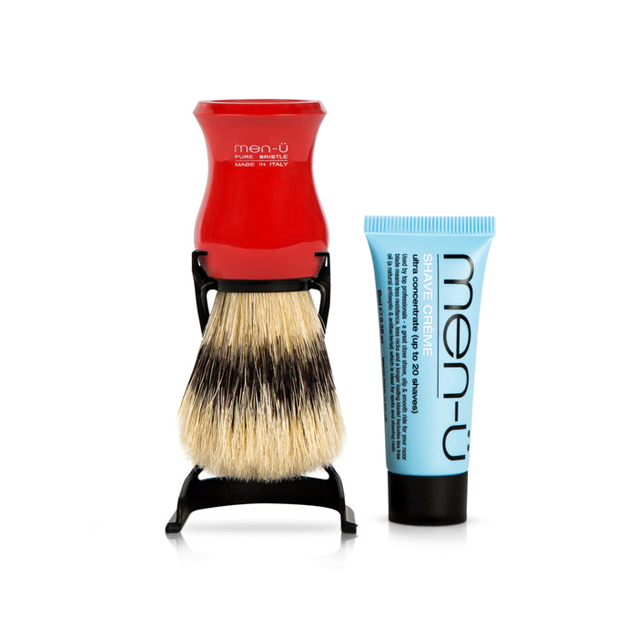 Men u, Men-U Barbiere Pure Bristle Shaving Brush with Stand Red