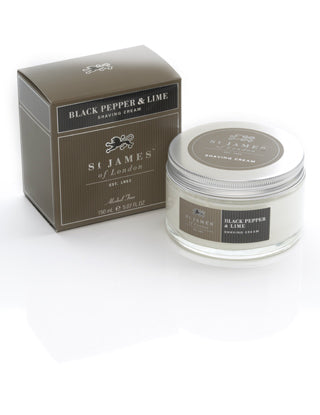 St James of London, St James Black Pepper and Lime Shave Cream Jar 150ml